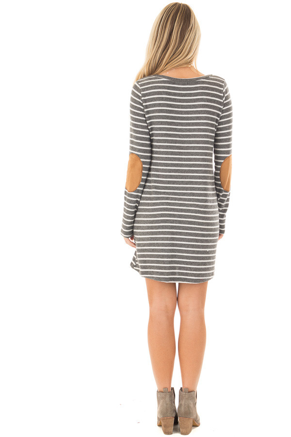 Charcoal Soft Striped Mini Dress with Suede Elbow Patches back full body