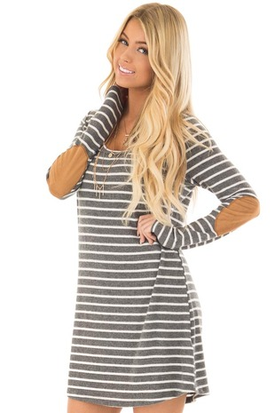 Charcoal Soft Striped Mini Dress with Suede Elbow Patches front closeup