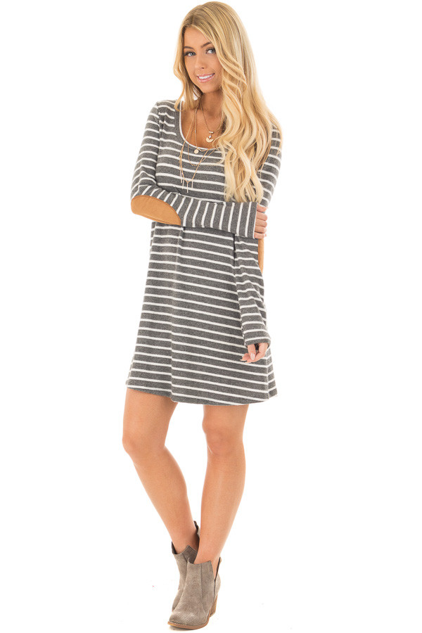 Charcoal Soft Striped Mini Dress with Suede Elbow Patches front full body