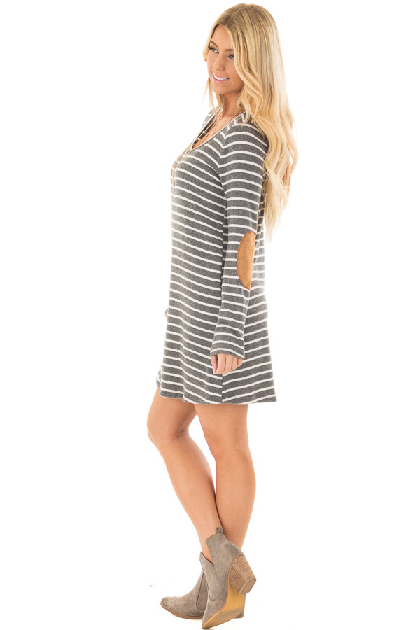 Charcoal Soft Striped Mini Dress with Suede Elbow Patches side full body