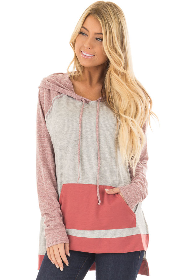 Heather Grey Ribbed Raglan Sleeve Top with Pocket and Hood front closeup