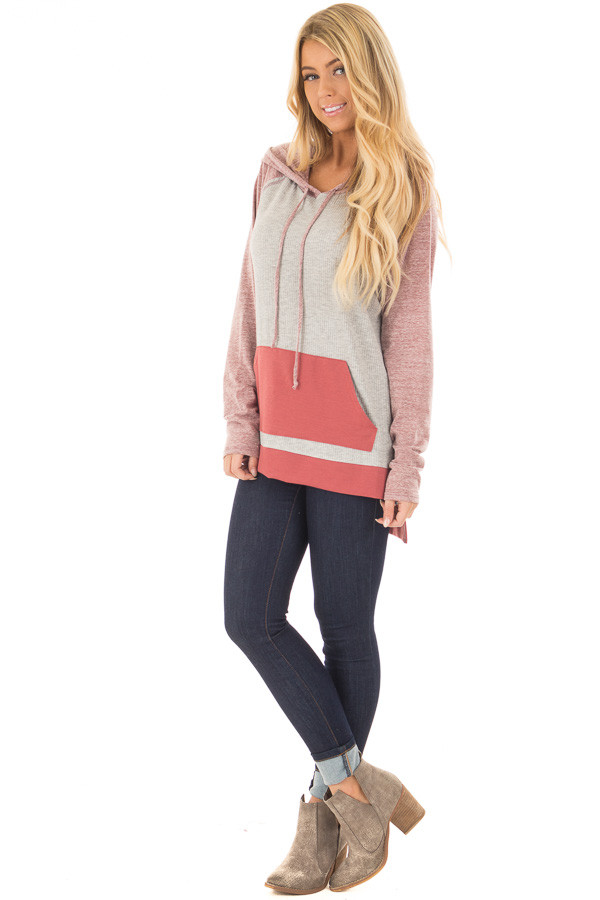 Heather Grey Ribbed Raglan Sleeve Top with Pocket and Hood front full body