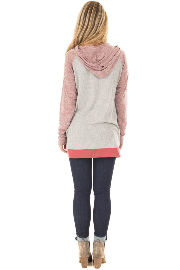 Heather Grey Ribbed Raglan Sleeve Top with Pocket and Hood back full body