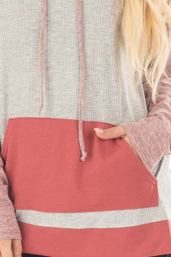 Heather Grey Ribbed Raglan Sleeve Top with Pocket and Hood front detail