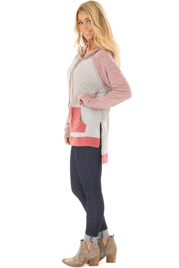 Heather Grey Ribbed Raglan Sleeve Top with Pocket and Hood side full body