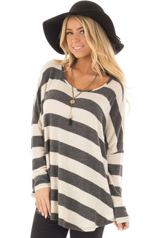 Taupe and Charcoal Thick Striped Dolman Long Sleeve Top front closeup