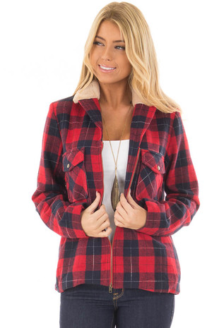 Red and Navy Plaid Zip Up Jacket with Super Soft Fur Collar front closeup