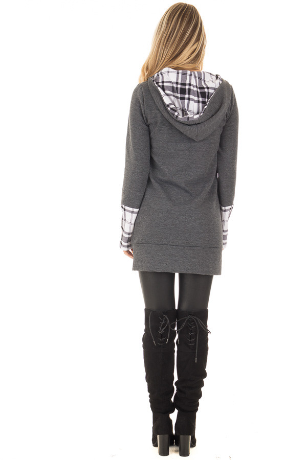 Charcoal Hoodie with Plaid Accent Cuffs and Hood back full body