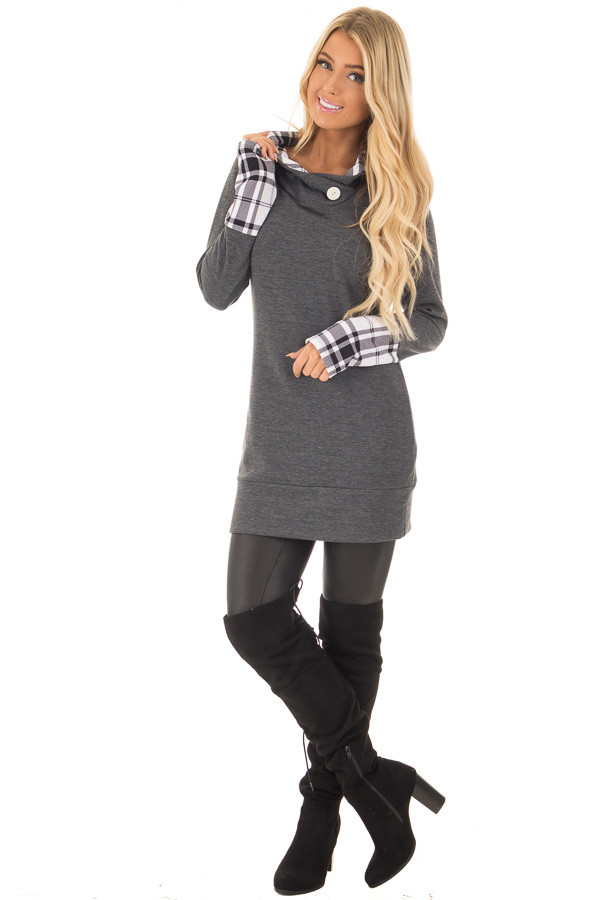 Charcoal Hoodie with Plaid Accent Cuffs and Hood front full body
