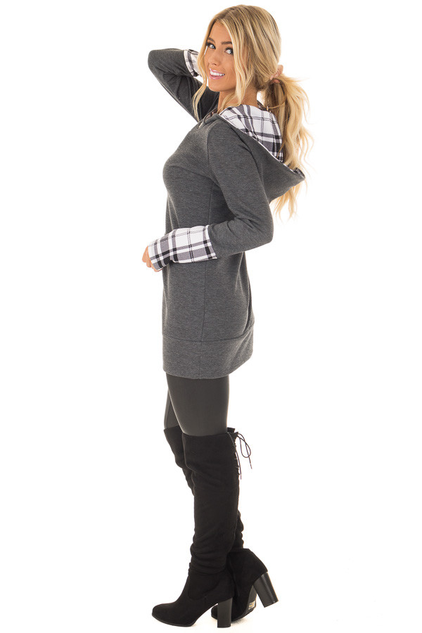 Charcoal Hoodie with Plaid Accent Cuffs and Hood side full body