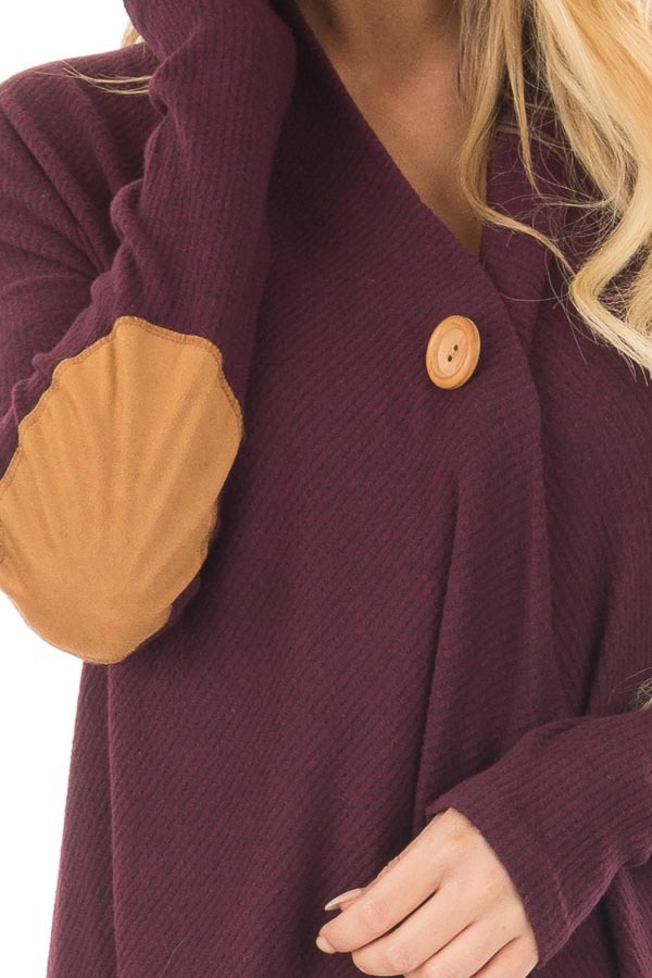 Burgundy Long Sleeve Cardigan with Elbow Patches front detail