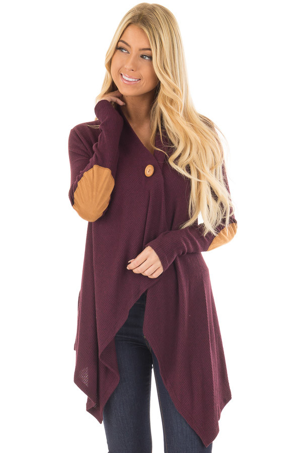 Burgundy Long Sleeve Cardigan with Elbow Patches front closeup
