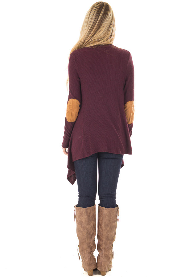 Burgundy Long Sleeve Cardigan with Elbow Patches back full body