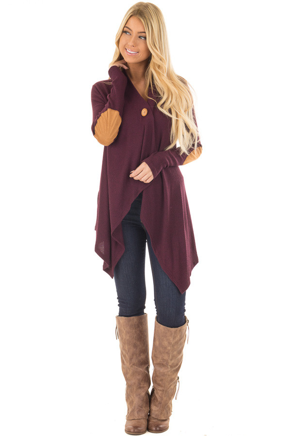 Burgundy Long Sleeve Cardigan with Elbow Patches front full body