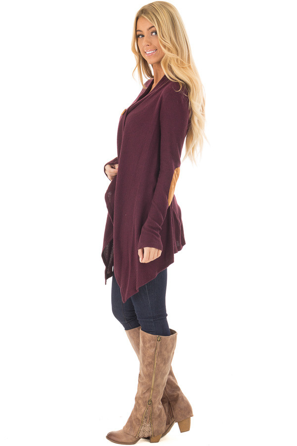 Burgundy Long Sleeve Cardigan with Elbow Patches side full body