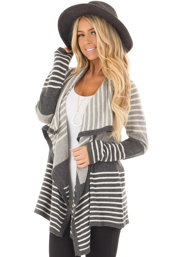 Heather Grey and Charcoal Striped Asymmetrical Cardigan front closeup