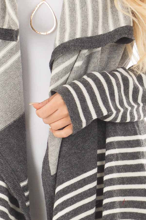 Heather Grey and Charcoal Striped Asymmetrical Cardigan front detail