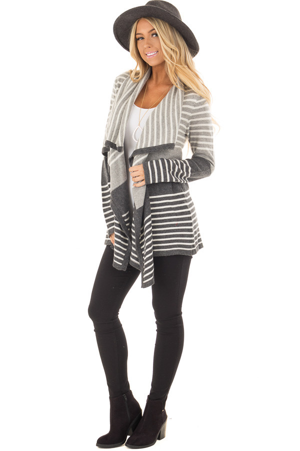 Heather Grey and Charcoal Striped Asymmetrical Cardigan front full body