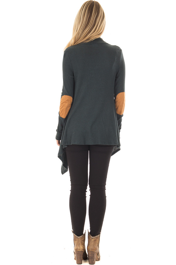 Hunter Green Long Sleeve Cardigan with Elbow Patches back full body