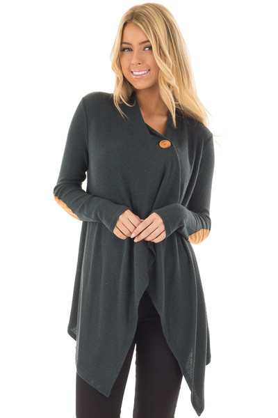 Hunter Green Long Sleeve Cardigan with Elbow Patches front closeup
