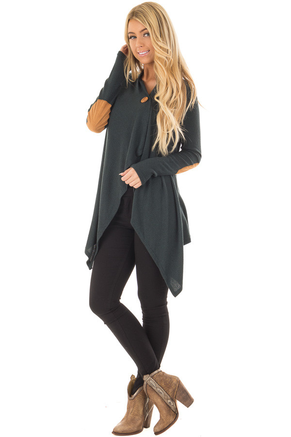 Hunter Green Long Sleeve Cardigan with Elbow Patches front full body