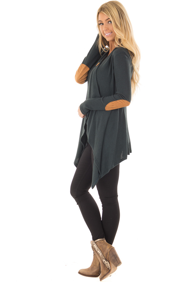 Hunter Green Long Sleeve Cardigan with Elbow Patches side full body