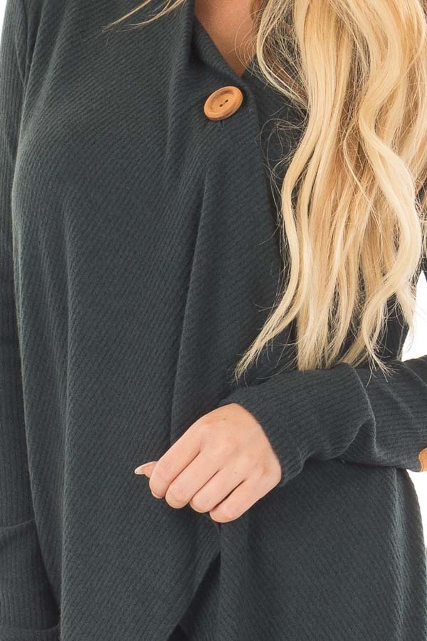 Hunter Green Long Sleeve Cardigan with Elbow Patches front detail