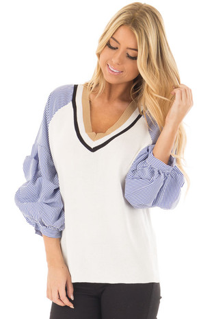 White Sweater with Navy Striped Raglan Bishop Sleeves front close up