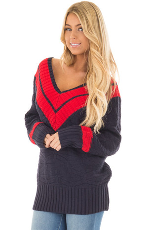 Navy Sweater with Stripe Neckline and Ribbed Hemline front close up