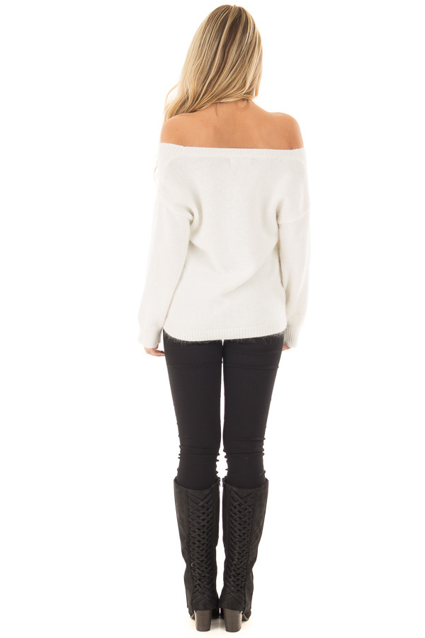 Ivory Long Sleeve Off the Shoulder Sweater back full body