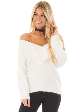 Ivory Long Sleeve Off the Shoulder Sweater front close up