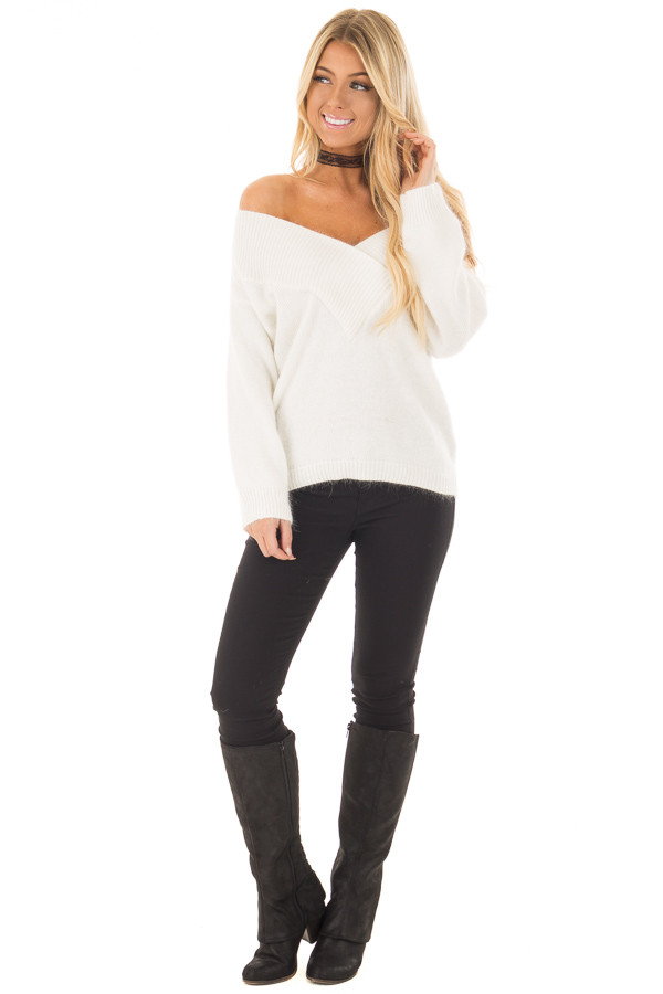 Ivory Long Sleeve Off the Shoulder Sweater front full body