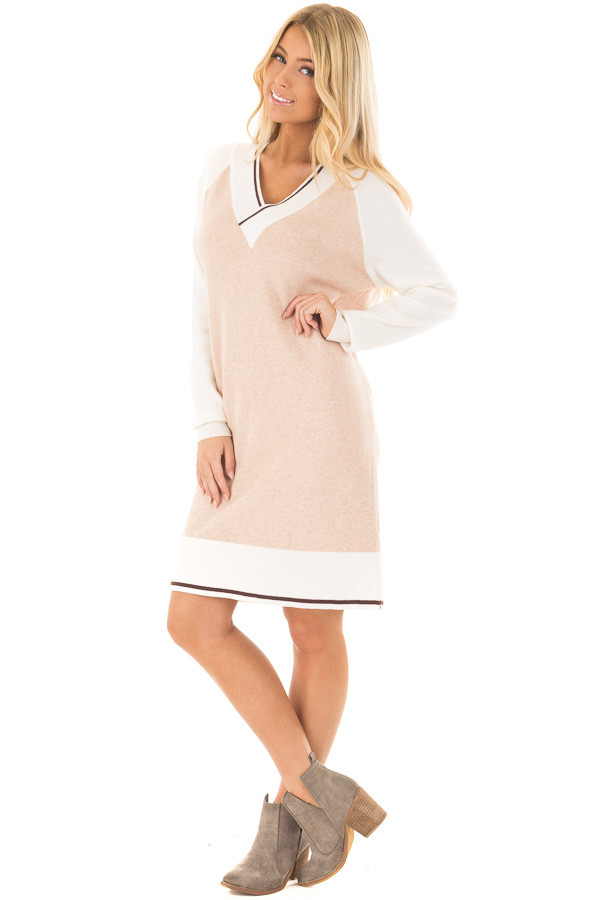 Light Blush Color Block Dress with Ivory Raglan Sleeves front full body