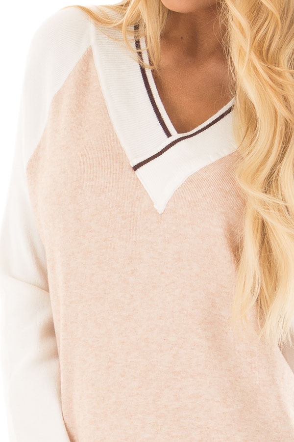 Light Blush Color Block Dress with Ivory Raglan Sleeves detail