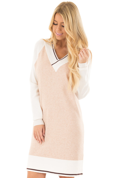 Light Blush Color Block Dress with Ivory Raglan Sleeves front close up