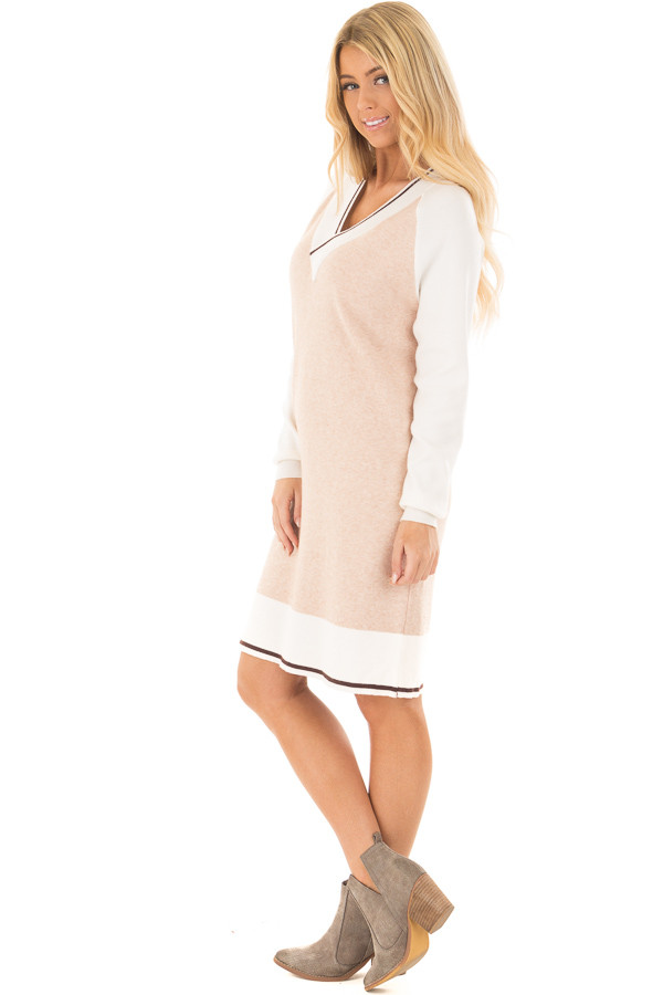 Light Blush Color Block Dress with Ivory Raglan Sleeves side full body