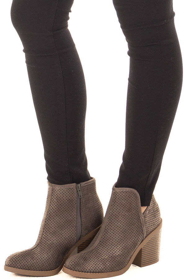Charcoal Faux Suede Heeled Bootie with Cutout Details front side view