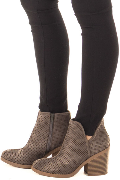 Charcoal Faux Suede Heeled Bootie with Cutout Details side view