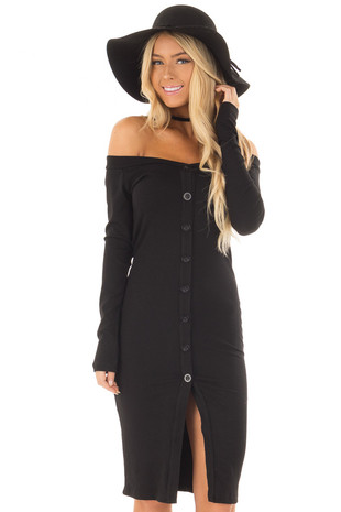 Black Long Sleeve Off the Shoulder Short Dress front close up
