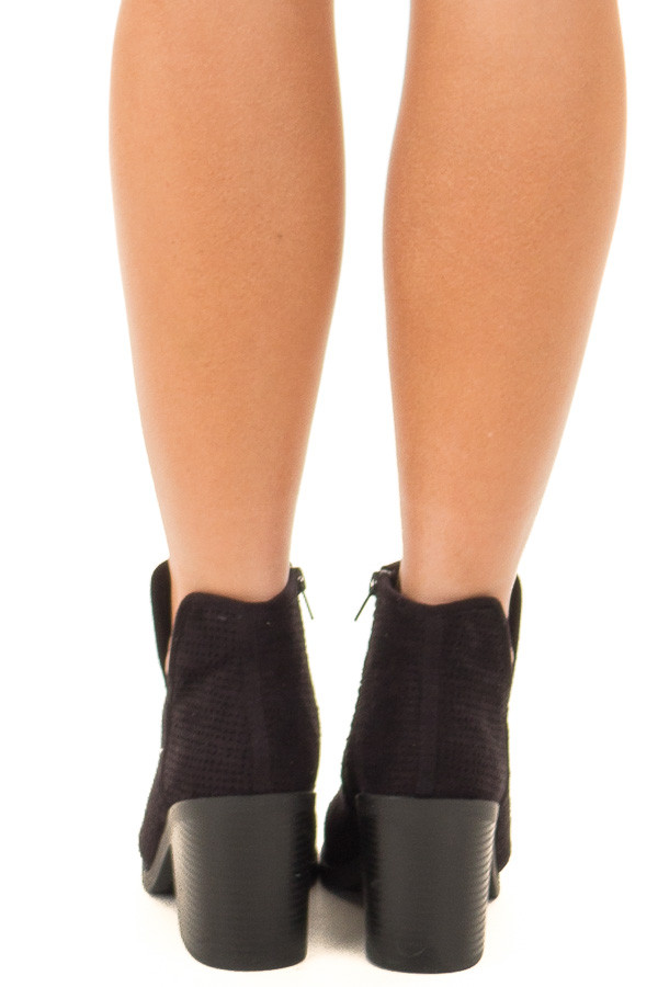Black Faux Suede Heeled Bootie with Cutout Details back view