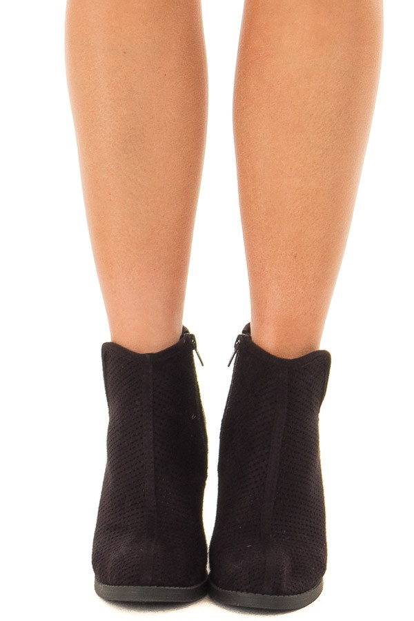 Black Faux Suede Heeled Bootie with Cutout Details front view