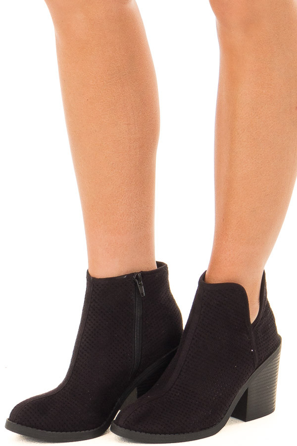 Black Faux Suede Heeled Bootie with Cutout Details front side view