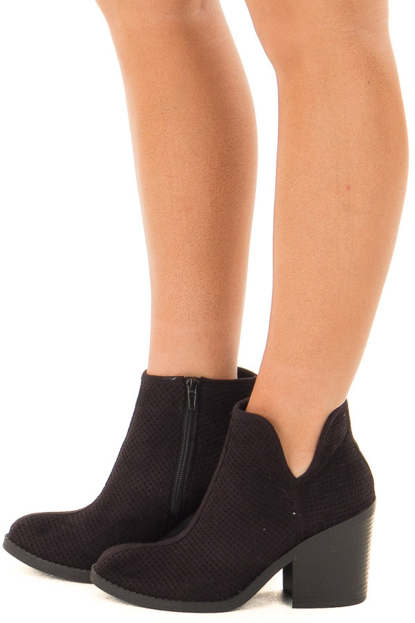 Black Faux Suede Heeled Bootie with Cutout Details side view