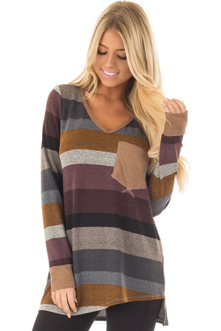Multi Colored Striped Long Sleeve Top with Faux Suede Detail front closeup