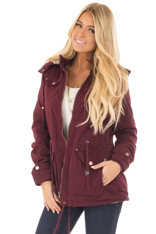 Wine Cargo Jacket with Faux Fur Lining and Hood - Lime Lush Boutique