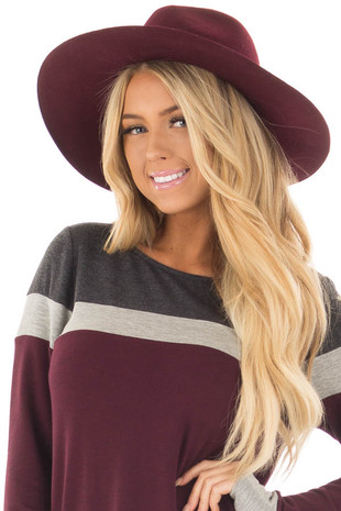 Burgundy Wide Brim Hat with Braided Detail front