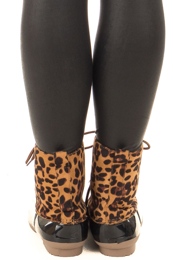 Leopard Print Faux Suede Duck Boot back view