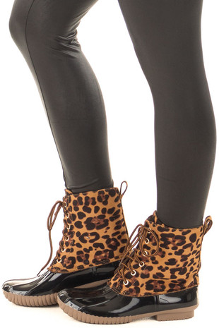 Leopard Print Faux Suede Duck Boot side view