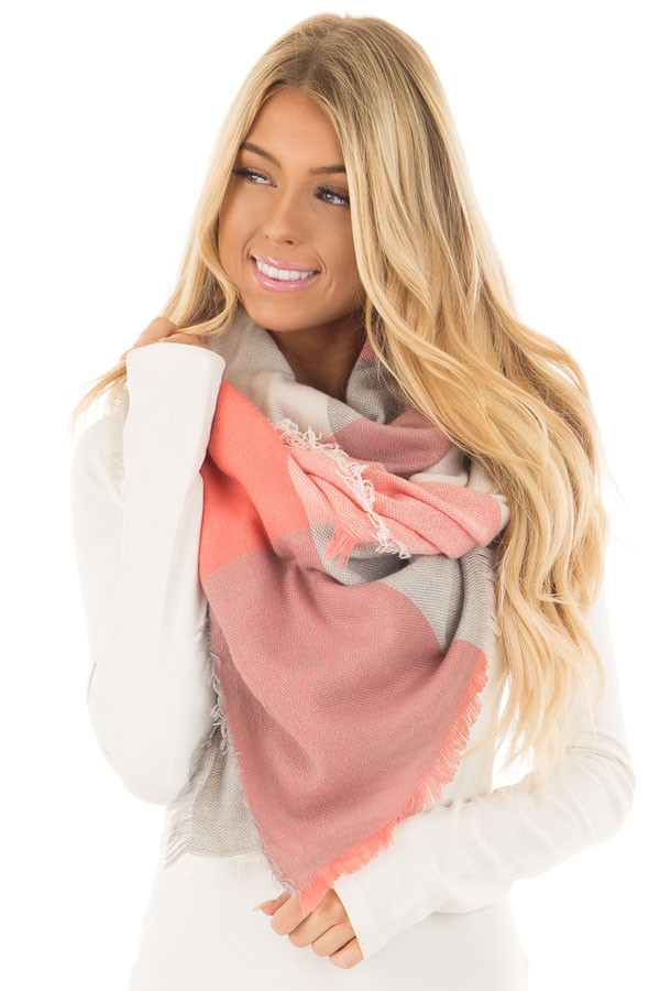 Heather Grey and Peach Plaid Blanket Scarf close