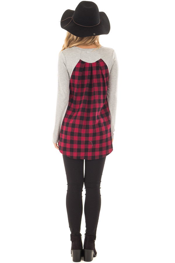 Heather Grey and Red Plaid Long Sleeve Top back full body